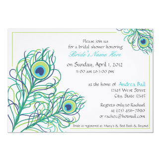 Peacock Feather Bridal Shower Card