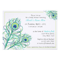 Peacock Feather Bridal Shower Personalized Invitations