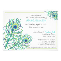 """Peacock Feather Bridal Shower 5"""" X 7"""" Invitation Card"""