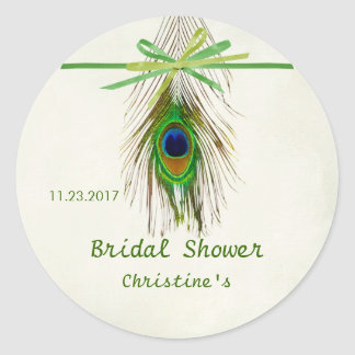 Peacock feather Bridal Shower Sticker