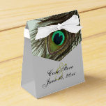 """Peacock Feather Bride and Groom Favor Box<br><div class=""""desc"""">Peacock Feather Bride and Groom Customizable Favor Box</div>"""