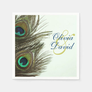 Peacock Feather Bride and Groom Wedding Napkins Paper Napkin
