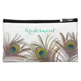 Peacock Feather Bridesmaid Personalized Makeup Bag