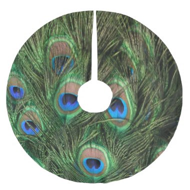 Peacock Feather Brushed Polyester Tree Skirt