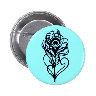 Peacock Feather Pinback Button