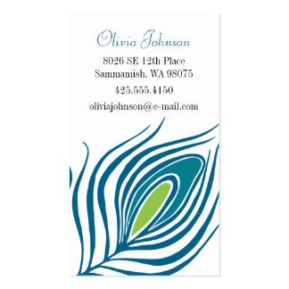 Peacock Feather Calling Card Business Card Template