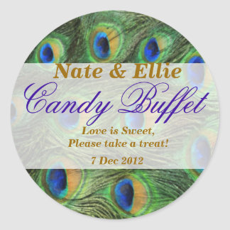 Peacock Feather Candy Buffet Sticker