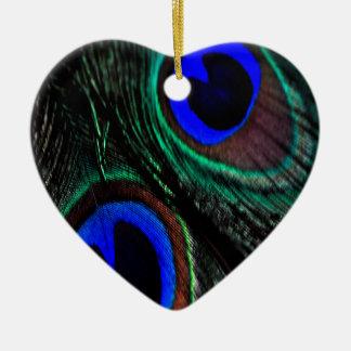 Peacock feather ceramic ornament