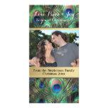 Peacock Feather Christmas Love Peace Joy Holiday Card