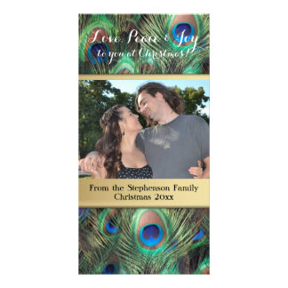 Peacock Feather Christmas Love Peace Joy Holiday Card