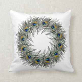 Peacock Feather Circles Throw Pillow