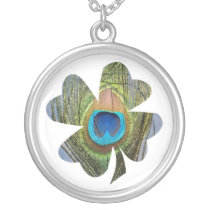 Peacock Feather Clover Necklace