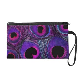Peacock Feather Clutch Wristlet Bag - Purple Pink