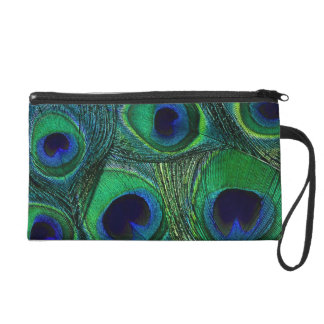 Peacock Feather Clutch Wristlet - Teal Green Blue