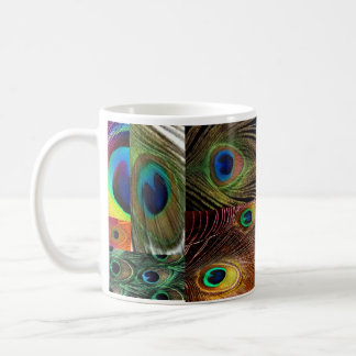 peacock feather collage coffee mug