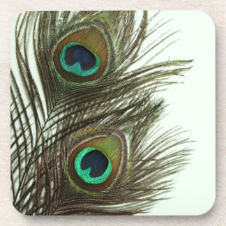Peacock Feather Cork Coasters