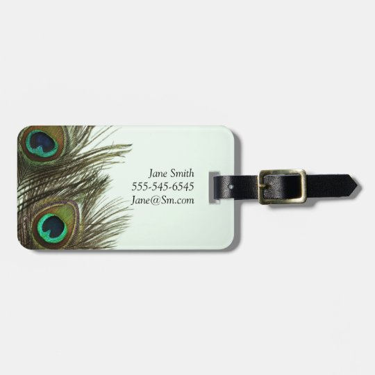 Peacock Feather Customizable Luggage Tags