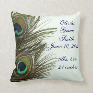 Peacock Feather Customize Baby Announcement Pillow