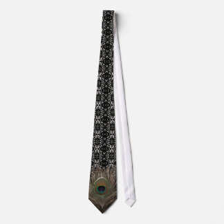 Peacock feather-damask bg neck tie