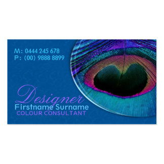 Peacock Feather Damask Blue Business Card