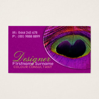 Peacock Feather Damask Hot Pink Business Card