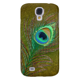Peacock feather decorative green  samsung s4 case