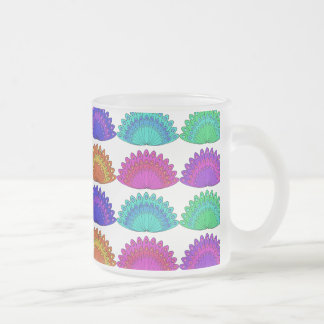 Peacock Feather Design Frosted Glass Coffee Mug