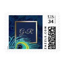Peacock Feather Design | Monograms Wedding Stamps