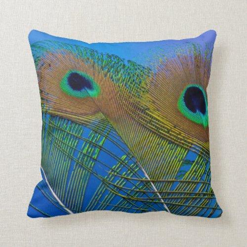 Peacock Feather Design Throw Pillow