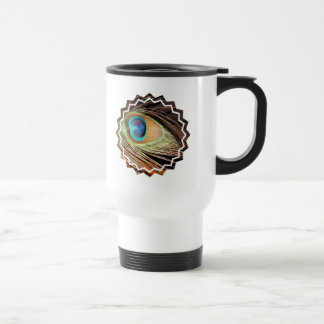 Peacock Feather Designs Plastic Travel Mug