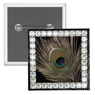 Peacock feather-diamond square pins
