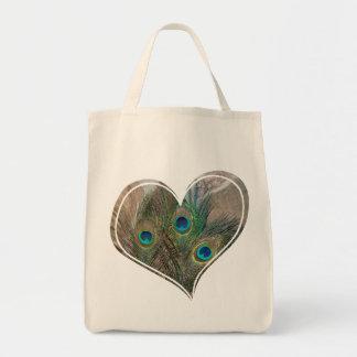 Peacock Feather Double Heart Bag