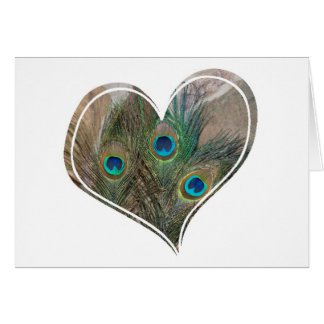 Peacock Feather Double Heart Card