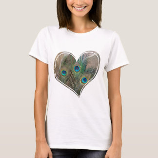 Peacock Feather Double Heart T-Shirt