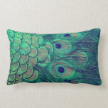 Peacock feather double-sided pillow