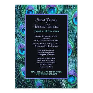 "Peacock Feather Drama 6.5"" x 8 Wedding Invitation"