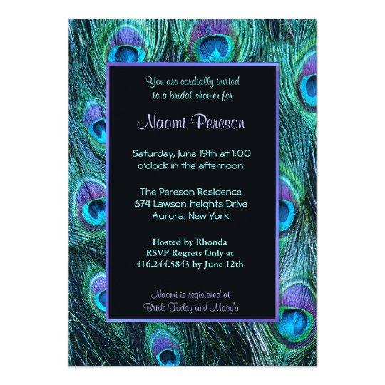 4e80bc2a9ec8 Peacock Feather Drama - Bridal Shower Invitation