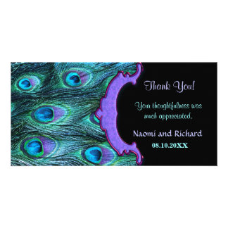 Peacock Feather Drama - Thank You Card