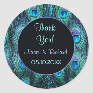 Peacock Feather Drama -Thank You Seal - Customize Classic Round Sticker