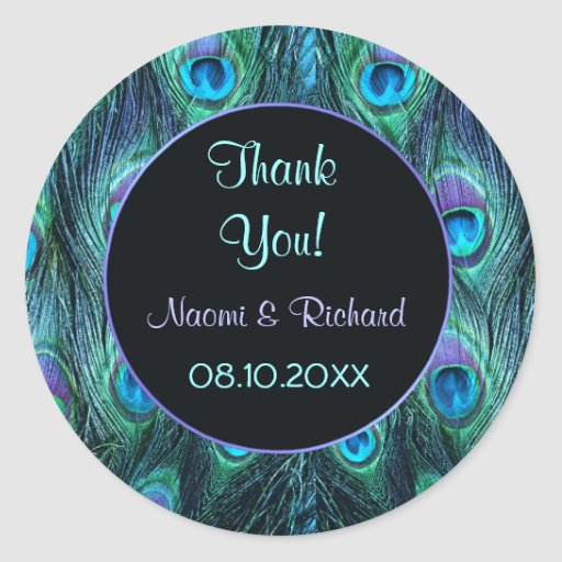 Peacock Feather Drama -Thank You Seal - Customize Round Stickers