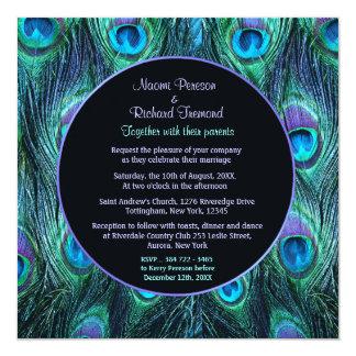 """Peacock Feather Drama - Wedding Invitation Square 5.25"""" Square Invitation Card"""
