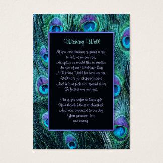 Peacock Feather Drama Wedding - Wishing Well Business Card