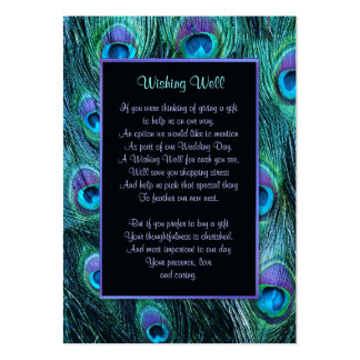 Peacock Feather Drama Wedding - Wishing Well Large Business Card