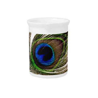 Peacock Feather Drink Pitcher