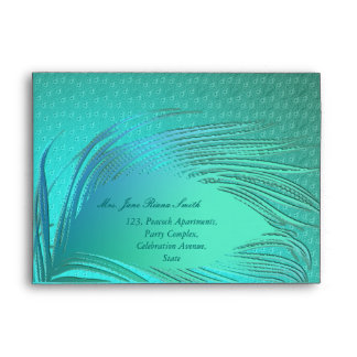 Peacock feather elegant any occasion envelopes