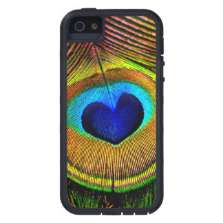 Peacock Feather Elegant Bird Blue and Gold Heart Cover For iPhone 5