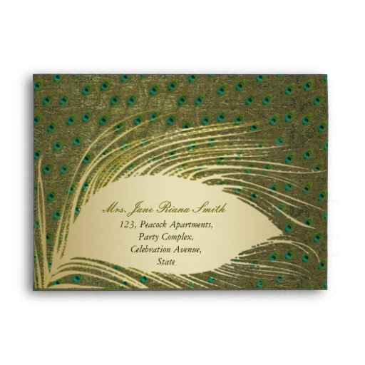 Peacock feather elegant green envelopes