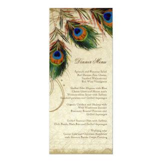 Peacock & Feather Elegant Matching Dinner Menu 4x9.25 Paper Invitation Card
