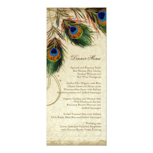 Peacock & Feather Elegant Matching Dinner Menu Card