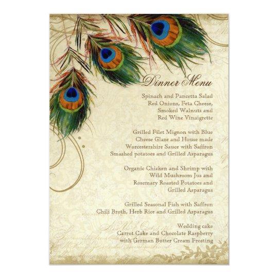 Peacock & Feather Elegant Matching Dinner Menu Card